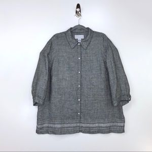 MAGGIE McNAUGHTON Gray Linen Button Down Top